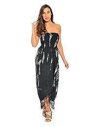 Riviera Sol Tie Dye Smock Pecho Sundresses para Las Mujeres