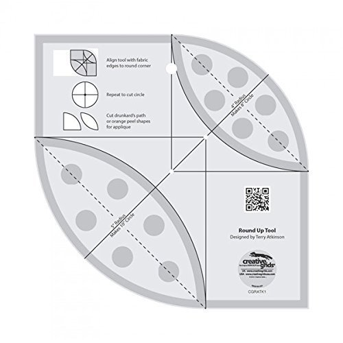 Creative Grids Round Up Tool for Quilting Rounded Corners Template Ruler CGRATK1 (Rounded Corner Templates)