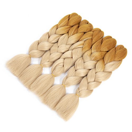 Dorisy Ombre Braiding Hair Kanekalon Jumbo Braiding Hair Two Tone Color Corchet Braid Twist High Temperature Synthetic Hair (5pcs, Light Brown Blonde)
