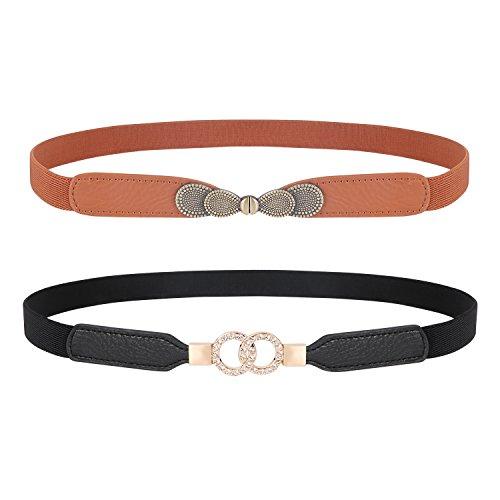 Womens Skinny Elastic Waist Belt, JASGOOD Stretch Cinch Thin Belt For Dress 2 Pack