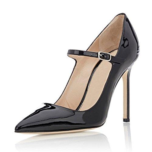 Tacco Stiletto Alla con Tacco Nero Scarpe Alto Soireelady Scarpe Cinturino Caviglia Tacco Sexy Mary Jane 1 Col CqEggBIw