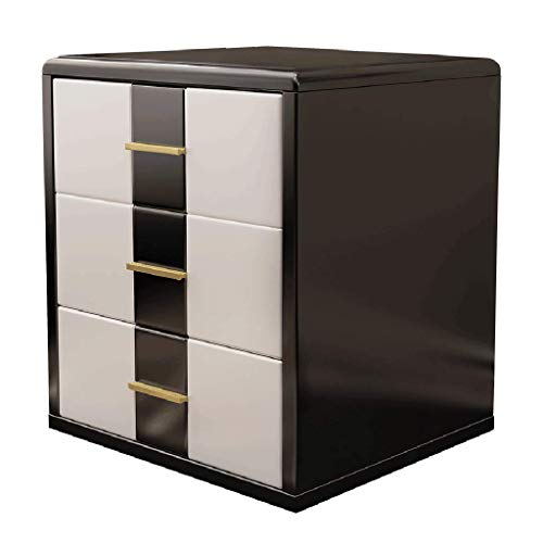 Bedside Table Bedside Table- Simple Modern Bedroom Mini Bedside Cabinet Black White Two-Color Collision Three Drawers Storage Furniture
