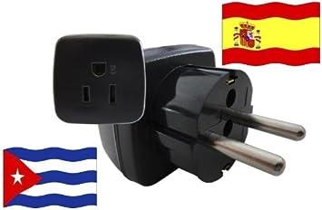 Adaptador de Viaje ESPAÑA a Cuba ES - CU Travel Plug ESPAÑA-Viaje (Protección contacto, 2200Watt): Amazon.es: Bricolaje y herramientas