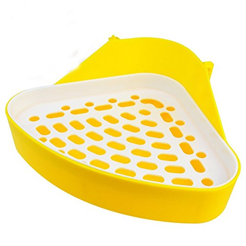 Nydotd Triangle Pet Potty Hamster Toilet Trainer Corner Litter Bedding Box, Pet Small Animal Toilet Plastic Pet Pan Tray Pad Potty Box for Guinea Pig Bunny Ferret Gerbil Chinchilla Yellow