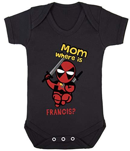 Colour Fashion Little Deadpool Superhero Funny Print Baby Bodysuits Hypoallergenic Cotton (3-6 Months, Black) -