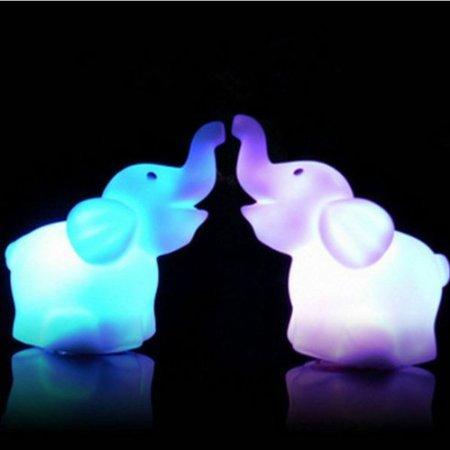 Liroyal 7 Color Change Decoration LED Lamp Night Light Candle Flash Kids Elephant]()