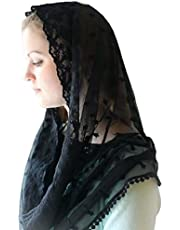 ABBY -J Moslim Infinity Bloemen Kant Sluier Sjaal Kapel Hoofd Bekleding Wrap Mantilla Hijab Moslim Infinity Bloemen Kant Sluier