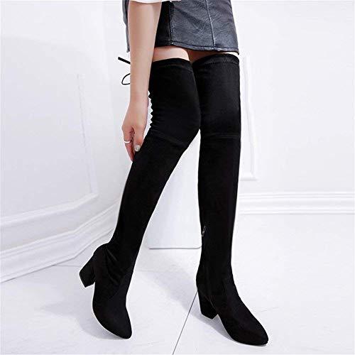 Shoes Eu Zipper Bandage Thickening Pointed 39 Deed Side Ms Eu 35 Scrub Knee nero Boots Pu nwBUBCvq