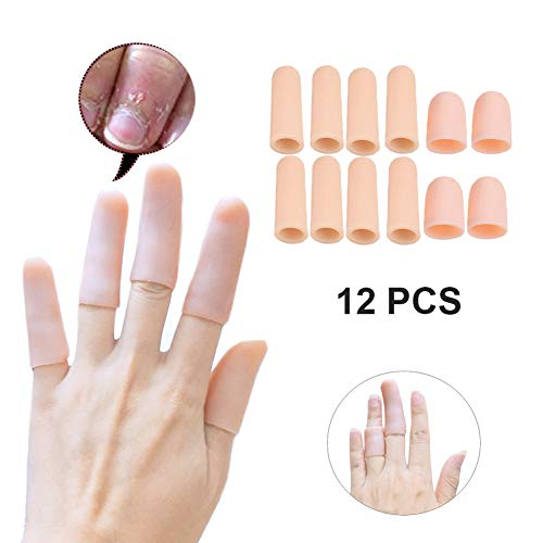 - Qcotta 12 Pieces -Gel Finger Protector, Thumb Sleeves - Finger Cots for Arthritis, Mallet Finger Trigger (2 Pairs Short+ 4 Pairs Long)