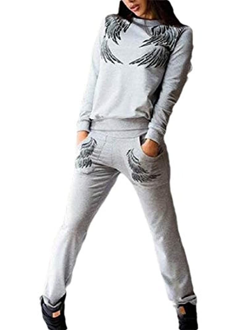 ギャップ背景倉庫Keaac Women's Wing Print Pullover Tracksuits 2 Pieces Outfits Long Sleeve Sweatshirt And Jogger Pants