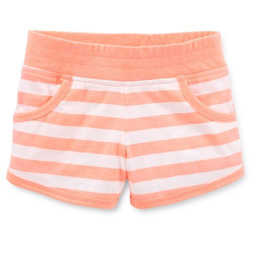 Carter's Girls Cotton Knit Striped Shorts (6x Youth, Coral Peach)