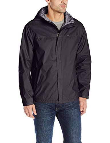 Tommy Hilfiger Men's Waterproof Breathable Hooded Jacket, Charcoal, L (Water Jacket Breathable Resistant)