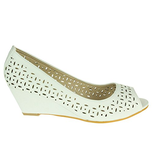 Mujer Señoras Detalle cortado Peep Toe Tacón de cuña Oficina Trabajo Casual Fiesta Noche Sandalias Zapatos Talla Blanco