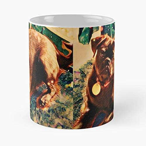 Delilah Pug Black Pugs Puppy Coffee Mugs Unique Ceramic Novelty Cup (Delilah Dark Chocolate)
