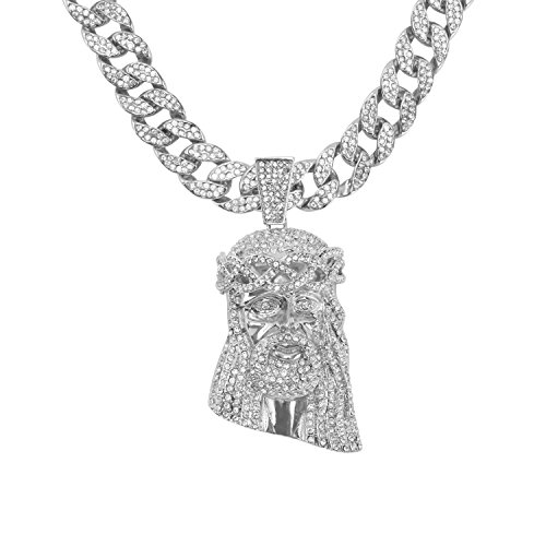 Jewelry4All Iced Out Jesus Pendant on 15mm Silver Plated Cuban Link Chain Covered in Simulated Diamond Crystals ()