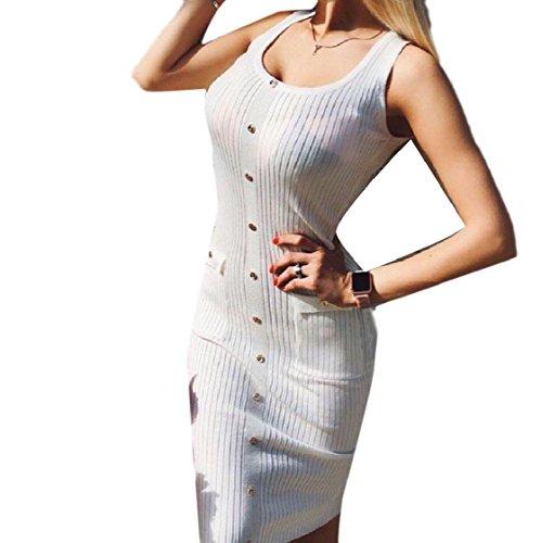 A donne Bianchi Un Dell'anca Vestito Tasche Lavoro Maniche Di Senza Pacchetto Pulsante Maglia Coolred dXT1qwOT