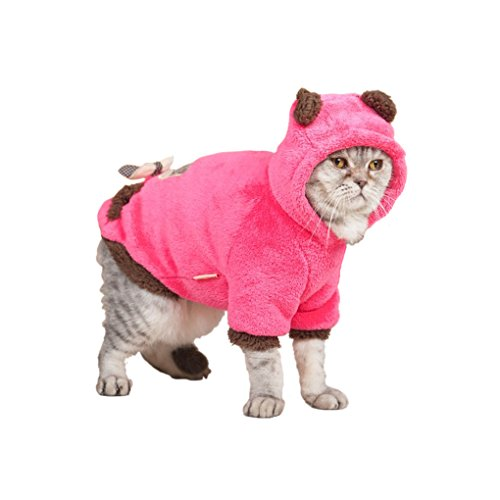 [Lovely Cartoon Soft Warm Coral Fleece Pet Hoodie Coat Jacket Clothes Winter Autumn No Cold Thick Velvet Hooded Sweater Jumpsuit Outfit Christmas Costume Apparel for Puppy Teddy Dogs Cats-Rose Red,] (Miss America Costume 2016)