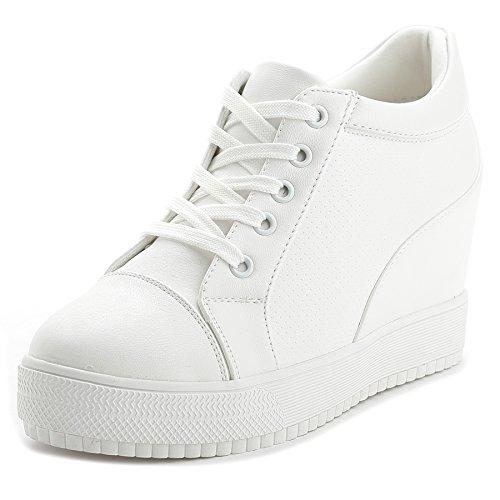 "Women Wedges Sneakers with Hidden Heel Ankle High Wide Width Platform Walking Shoes (7.5, White-3"" Heel-Height)"