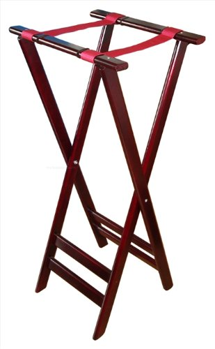 New Star Foodservice 20038 Mahogany Finish Solid Wooden Tray Stand, 38-Inch, Brown