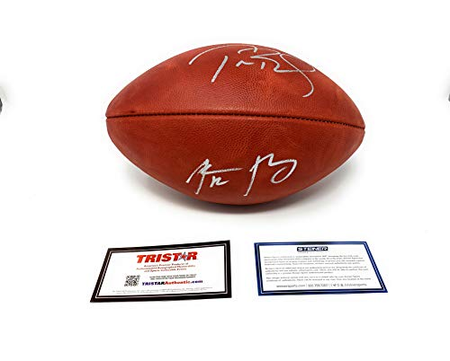 (Tom Brady Aaron Rodgers Signed Autograph NFL Authentic Duke NFL Football Dual Main Panel Steiner SportsTristar Certified)