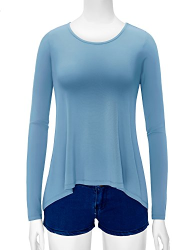 Regna X Womens Round Neck Rayon Span Stretchy Fabric and Ventilate Active Top With Back Point