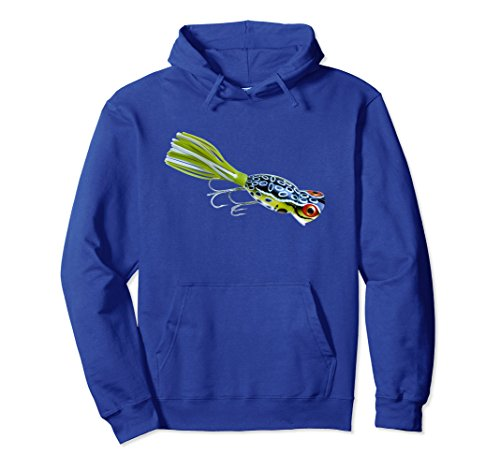 - Unisex Vintage Hula Popper Topwater Lure Bass Frog Hoodie Shirt NEW Large Royal Blue