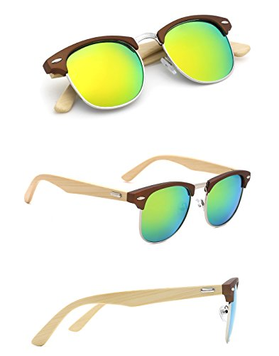 TIJN Mens Bamboo Wooden Semi-Rimless Horn Rimmed Wayfarer Clubmaster - Frame Wayfarer Gold Sunglasses
