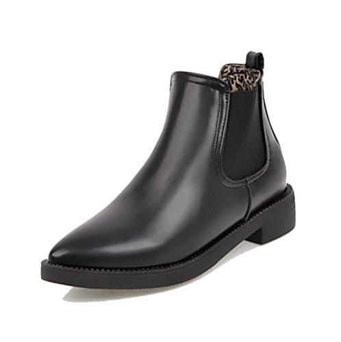 AgooLar Damen Rein Blend-Materialien Niedriger Absatz Ziehen auf Spitz Zehe Stiefel Schwarz