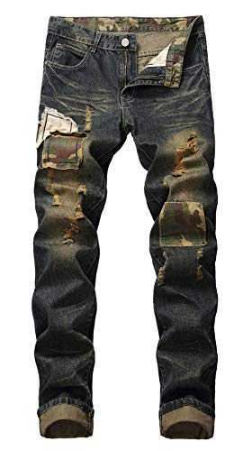 Distressed Relaxed Fit Jeans - FEESON Men's Caom Piece Patched Old Washed Straight Leg Ripped Jeans Dark Blue 32