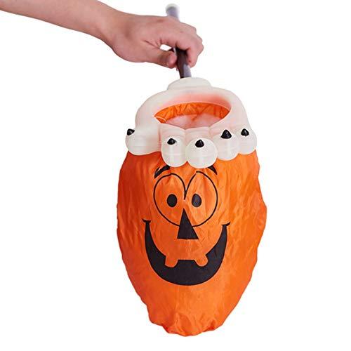 Taykoo Halloween Palm Pumpkin Candy Bags,Luminous Reusable Durable Handled Bag,Innovative Trick or Treat Goody Bag,Halloween Pumpkin Candy Totes,Safety Set (Pumpkin)