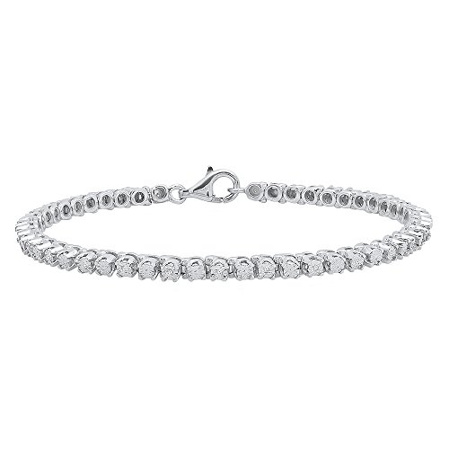 0.10 Carat (ctw) Sterling Silver Round Cut White Diamond Ladies Tennis Bracelet 1/10 CT by DazzlingRock Collection