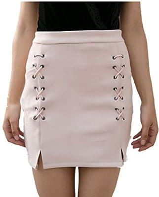 JIARAN Women's Classic High Waist Lace up Bodycon Faux Suede A Line Mini Pencil Skirt Casual