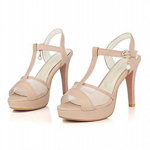 Charm Foot Mujeres T Strap Plataforma De Tacón Alto Peep Toe Vestido Sandal Pink