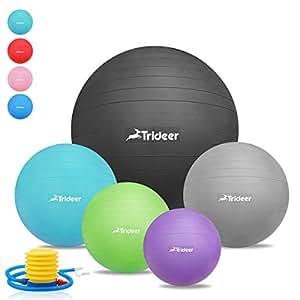 45-85cm Exercise Ball, Birthing Ball, Yoga Pilate Fitness Balance Ball with Pump Plug Kit, Anti-Slip & Anti-Burst, TRIDEER 2000lbs Extra Thick Core Cross Training Ball (Black, 45cm)