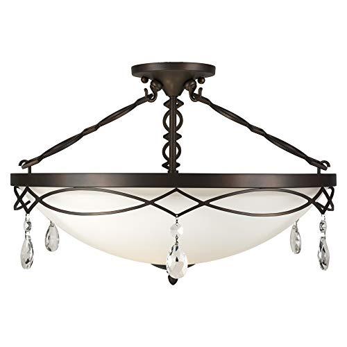 (Forte Lighting 2498-04-32 Signature 4 Light 22 inch Antique Bronze Semi Flush Mount Ceiling Light )