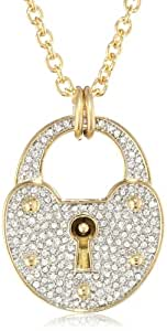 """Juicy Couture """"Key To My Heart"""" Pave Padlock Pendant Necklace, 32"""""""