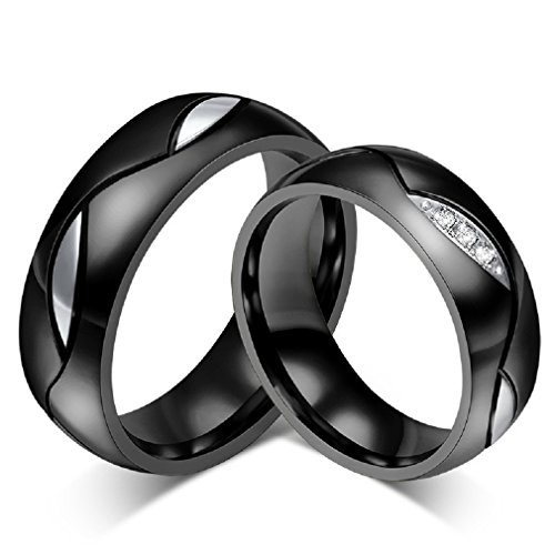 ROWAG Novelty Mens Black Titanium Stainless Steel Couple Wedding Bands for Him and Her Womens Rhinestone CZ Inlay Valentines Day Promise Engagement Rings