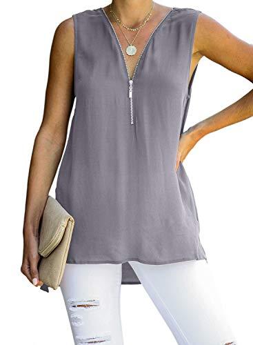 ZKESS Women Casual Sleeveless Fasion Zip V Neck Crisscross Back Tank Tops Summer Shirts Grey L 12 14