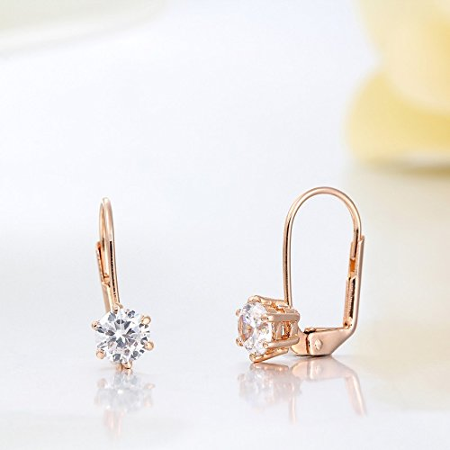 1pair Cute Rose Gold Color Six Claw Solitaire Round AAA CZ Zircon Small Clip On Earrings - Claw Solitaire Earrings