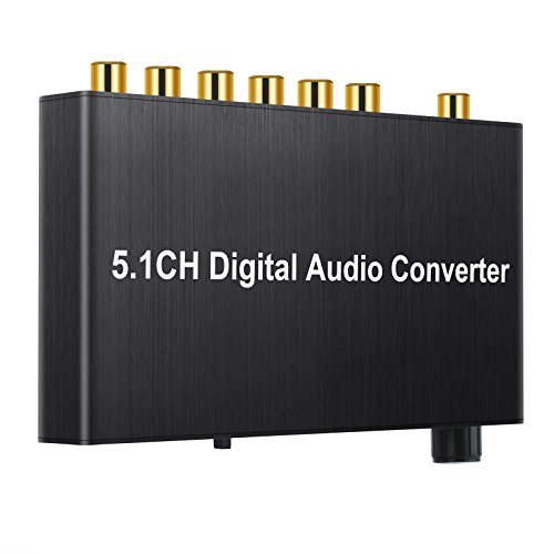 Proster 192kHz DAC Converter Decoder With Volume Control Support Dolby AC-3/DTS Digital Optical Coaxial Toslink to 5.1CH Analog and 3.5mm Jack Audio Converter Adapter For HDTV PS3 PS4 Blu-ray DVD by Proster