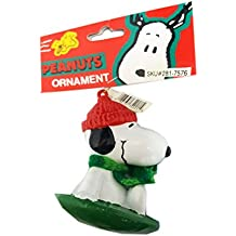 Peanuts Kurt Adler Snoopy On Snow Sled Disk Saucer Ornament 3""
