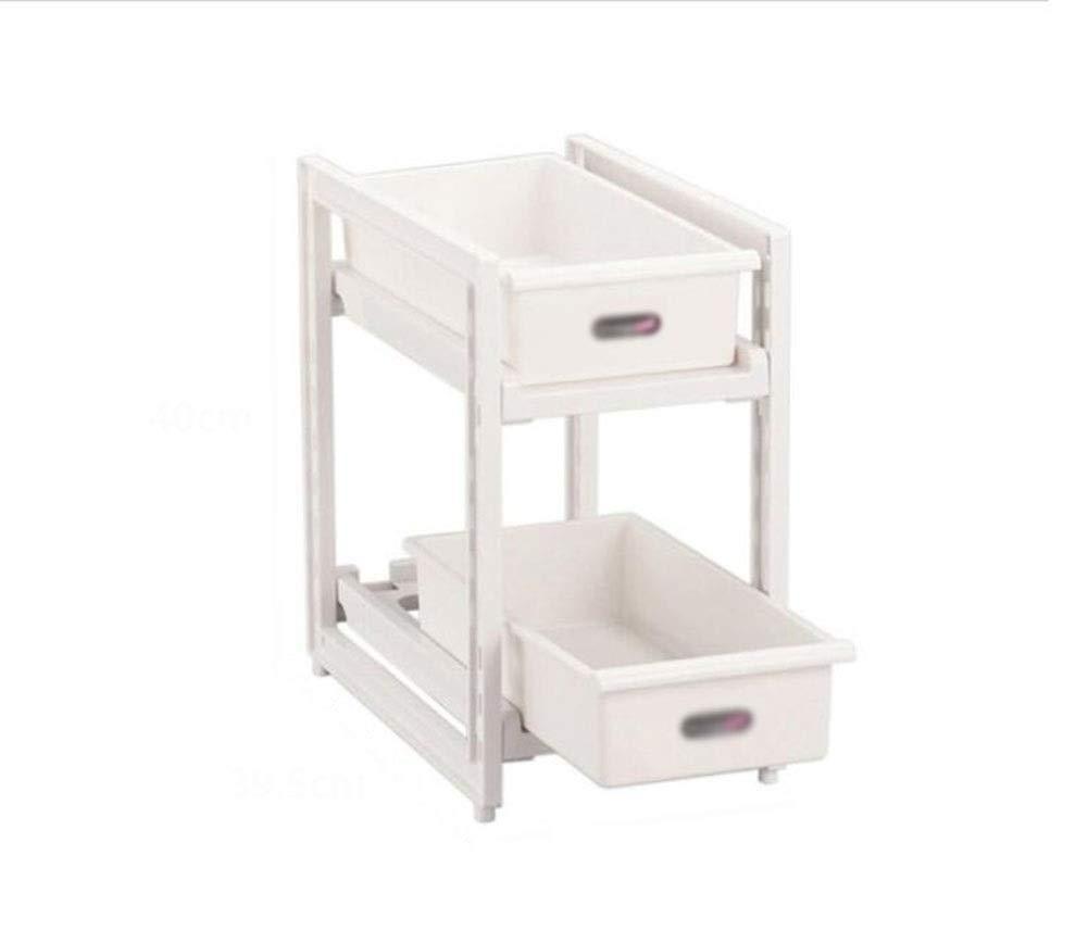 Kitchen storage box Shelf Retractable steel tube Adjusting length Free adjustment Buckle With drawer 3038.540cm 4039.523cm (Size : 4039.523CM)