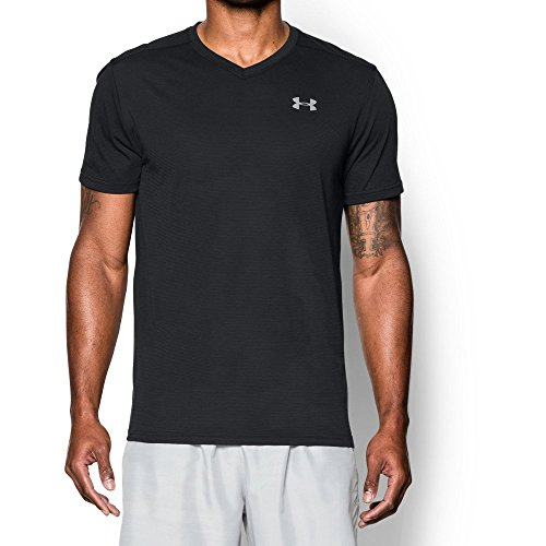 Under Armour Mens Streaker V-Neck Short Sleeve Shirt, Black (001)/Reflective, Medium