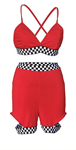 Racer Crop - Bluewolfsea Sexy 2 Pieces Crop Tops and Shorts Set Racer Checker Jumpsuit Plaid Bodycon Romper Shorts Small Red