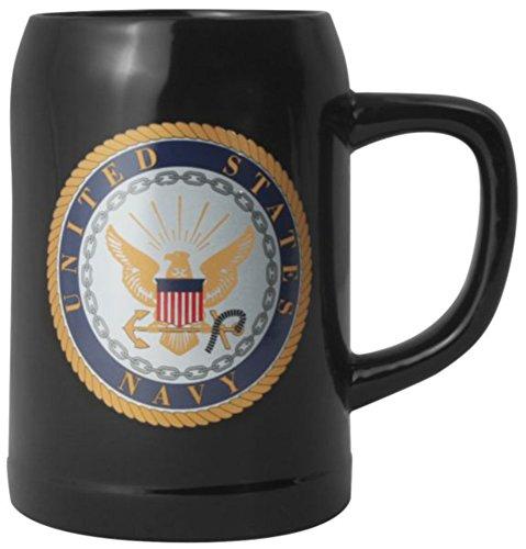 U.S. Navy Crest 20oz. Stoneware Tankard Black Stein ()