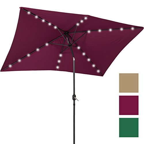 Best Choice Products 10×6.5ft Rectangular Solar LED Patio Umbrella w/Tilt Adjustment – Burgundy