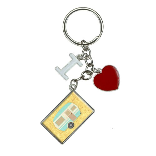 Camper Trailer RV Camping I Heart Love Keychain Key Ring for A Stress-Free Memorial Day Weekend Camping Trip