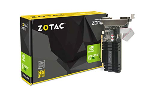 ZOTAC GeForce GT 710 2GB DDR3 PCI-E2.0 DL-DVI VGA HDMI Passive Cooled Single Slot Low Profile Graphics Card (ZT-71302-20L) ()