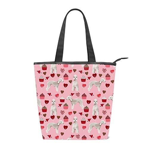 - Canvas Love Bedlington Terrier Tote Bag Zipper Closure Shoulder Bag Travel Bag for Weekend Perfect Bag for Gift