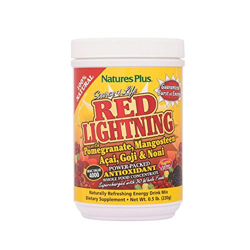 Natures Plus Source of Life Red Lightning - .5 lbs - Mixed Berry Flavor - Whole Food Energy Drink Powder Supercharged with Red Superfoods, Natural Antioxidant - Gluten Free - 38 Servings